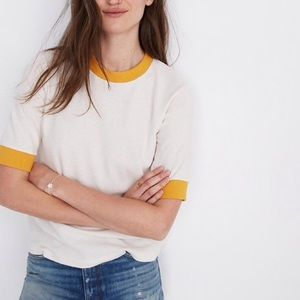 Madewell Yellow Lined Tee